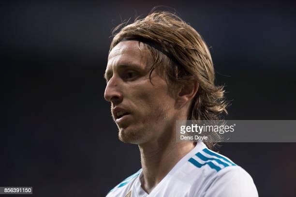 Luka Modric of Real Madrid CF looks on during the La Liga match between Real Madrid and Espanyol at Estadio Santiago Bernabeu on October 1 2017 in...