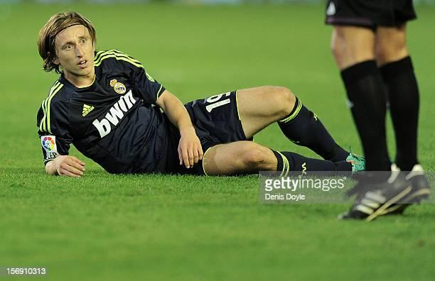 Luka Modric of Real Madrid CF reacts during the La Liga match between Real Betis Balompie and Real Madrid CF at Estadio Benito Villamarin on November...