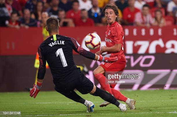 Luka Modric of Real Madrid CF shoots for score an offside goal during the La Liga match between Sevilla FC and Real Madrid CF at Estadio Ramon...