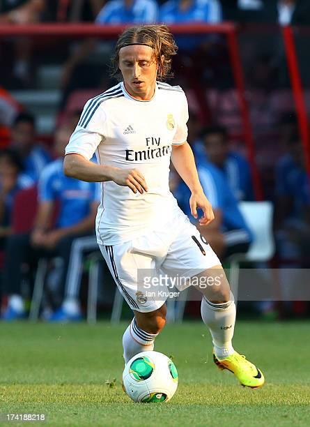 Luka Modric of Real Madrid controls the ball during a pre season friendly match between AFC Bournemouth and Real Madrid at Goldsands Stadium on July...