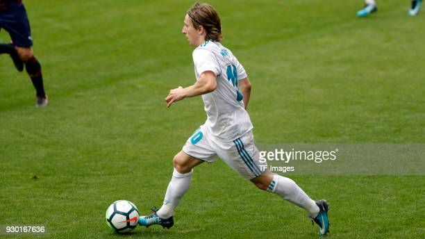 Luka Modric of Real Madrid controls the ball during the La Liga match between Eibar and Real Madrid at Estadio Municipal de Ipurua on March 10 2018...