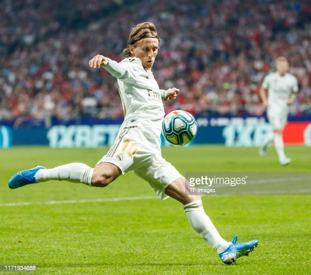 Luka Modric of Real Madrid controls the ball during the Liga match between Club Atletico de Madrid and Real Madrid CF at Wanda Metropolitano on...