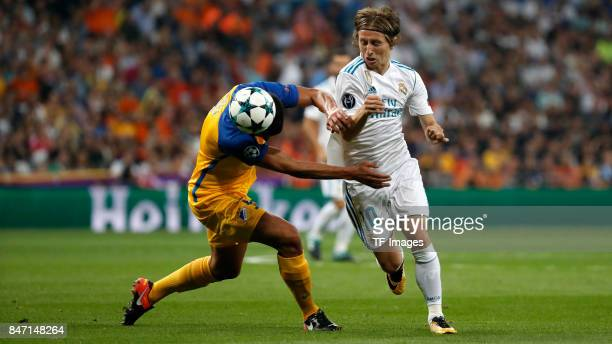 Luka Modric of Real Madrid controls the ball during the UEFA Champions League group H match between Real Madrid and APOEL Nikosia at Estadio Santiago...