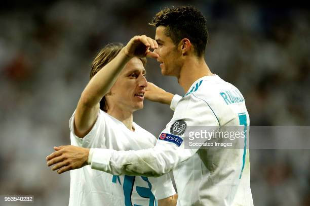 Luka Modric of Real Madrid Cristiano Ronaldo of Real Madrid celebrates the victory during the UEFA Champions League match between Real Madrid v...