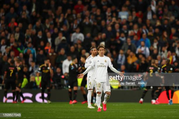 Luka Modric of Real Madrid dejected after Kevin De Bruyne of Manchester City scored a penalty to make it 12 during the UEFA Champions League round of...