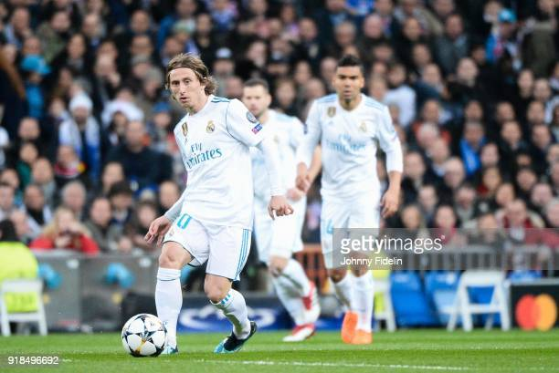 Luka Modric of Real Madrid during the Champions League match between Real Madrid and Paris Saint Germain at Estadio Santiago Bernabeu on February 14...