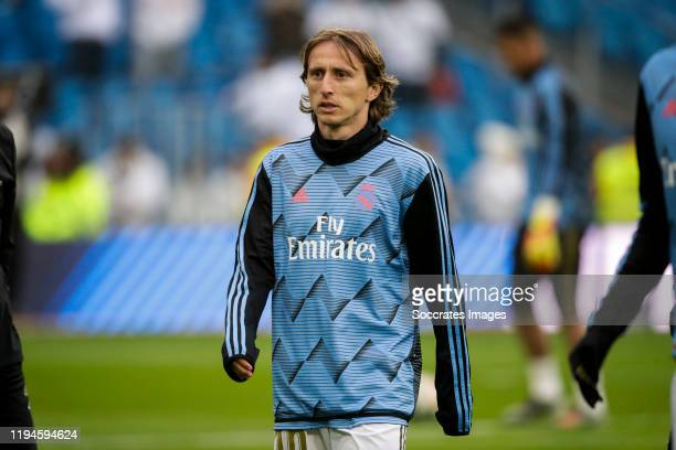 Luka Modric of Real Madrid during the La Liga Santander match between Real Madrid v Sevilla at the Santiago Bernabeu on January 18 2020 in Madrid...