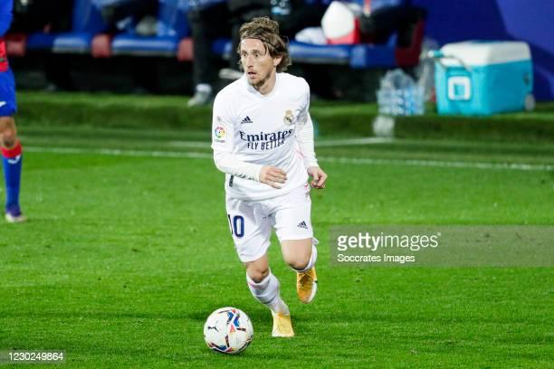 Luka Modric of Real Madrid during the La Liga Santander match between Eibar v Real Madrid at the Estadio Municipal de Ipurua on December 20, 2020 in...