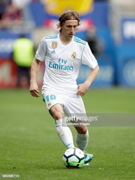 Luka Modric of Real Madrid during the La Liga Santander match between Eibar v Real Madrid at the Estadio Municipal de Ipurua on March 10 2018 in...