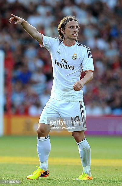 Luka Modric of Real Madrid during the pre season friendly match between Bournemouth and Real Madrid at Goldsands Stadium on July 21 2013 in...