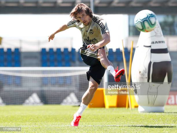 Luka Modric of Real Madrid during the team's training session during the Covid-19 pandemic at Valdebebas training ground on May 18, 2020 in Madrid,...