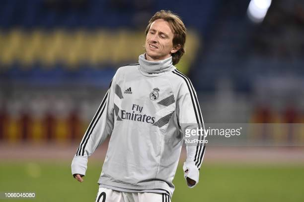Luka Modric of Real Madrid during the UEFA Champions League match between Roma and Real Madrid at Stadio Olimpico Rome Italy on 27 November 2018