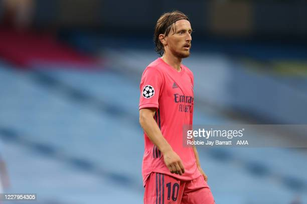Luka Modric of Real Madrid during the UEFA Champions League round of 16 second leg match between Manchester City and Real Madrid at Etihad Stadium on...