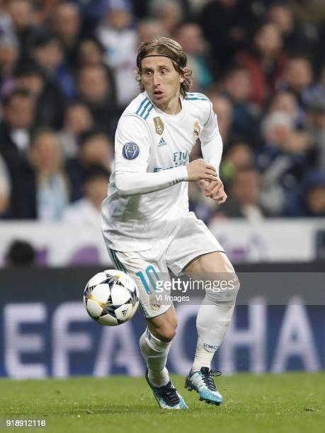 Luka Modric of Real Madrid during the UEFA Champions League round of 16 match between Real Madrid and Paris SaintGermain at the Santiago Bernabeu...