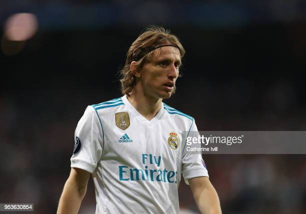 Luka Modric of Real Madrid during the UEFA Champions League Semi Final Second Leg match between Real Madrid and Bayern Muenchen at the Bernabeu on...