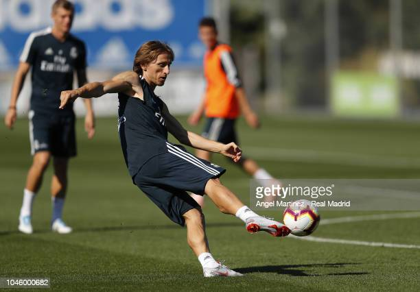 Luka Modric of Real Madrid in action during a training session at Valdebebas training ground on October 5 2018 in Madrid Spain