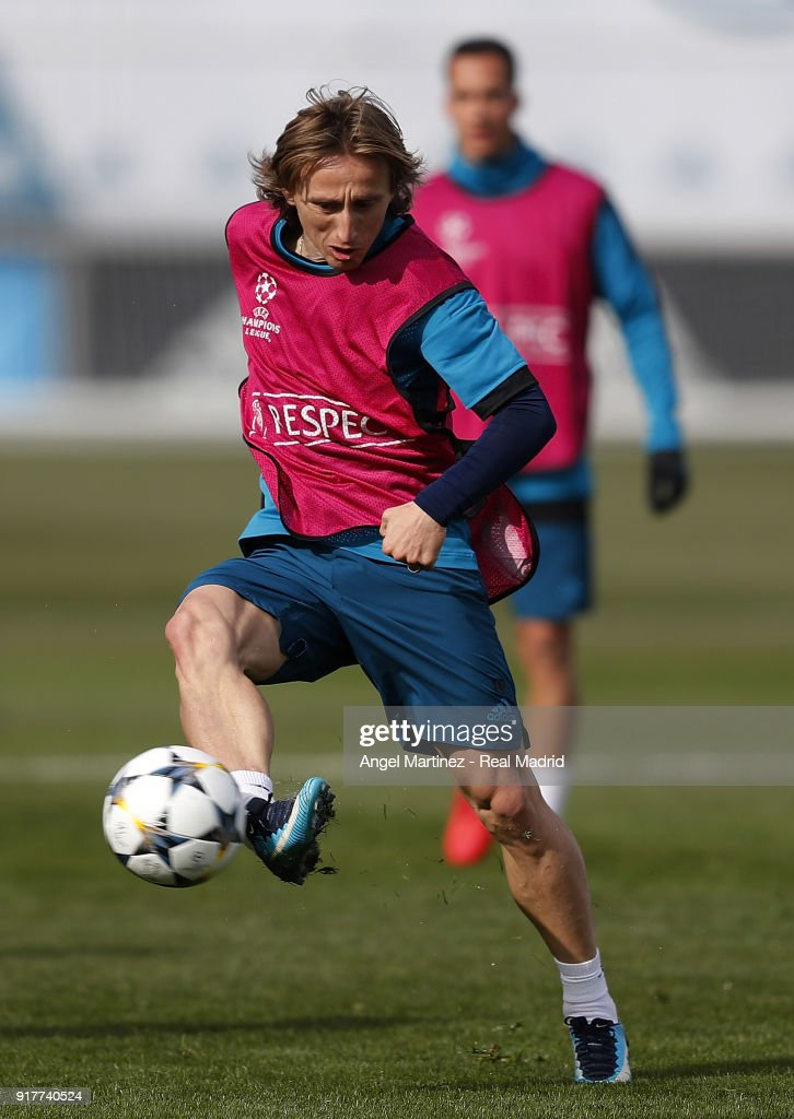 Luka Modric of Real Madrid in action during a training session at Valdebebas training ground on February 13, 2018 in Madrid, Spain.