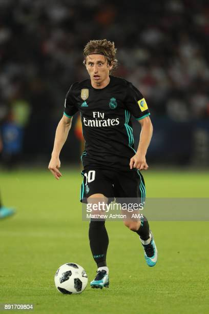 Luka Modric of Real Madrid in action during the FIFA Club World Cup UAE 2017 semifinal match between Al Jazira and Real Madrid CF at Zayed Sports...