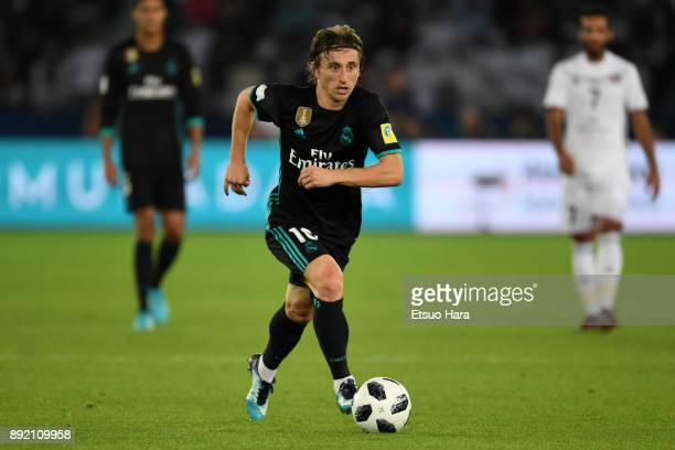 Luka Modric of Real Madrid in action during the FIFA Club World Cup UAE 2017 semifinal match between Al Jazira and Real Madrid on December 13 2017 in...