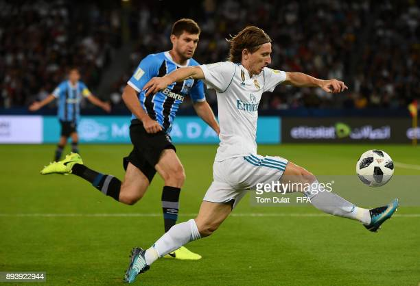 Luka Modric of Real Madrid in action during the FIFA Club World Cup UAE 2017 final match between Gremio and Real Madrid at Zayed Sports City Stadium...