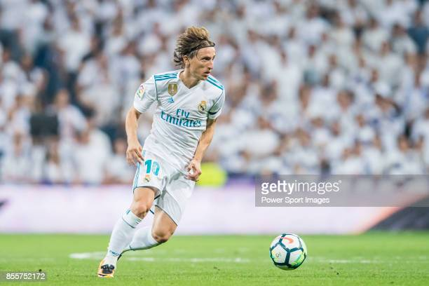 Luka Modric of Real Madrid in action during the La Liga 201718 match between Real Madrid and Real Betis at Estadio Santiago Bernabeu on 20 September...