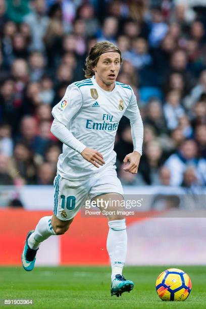 Luka Modric of Real Madrid in action during the La Liga 201718 match between Real Madrid and Sevilla FC at Santiago Bernabeu Stadium on 09 December...