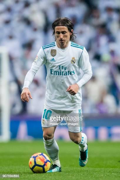 Luka Modric of Real Madrid in action during the La Liga 201718 match between Real Madrid and Villarreal CF at Santiago Bernabeu Stadium on January 13...