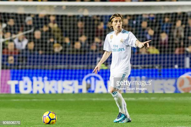 Luka Modric of Real Madrid in action during the La Liga 201718 match between Levante UD and Real Madrid at Estadio Ciutat de Valencia on 03 February...