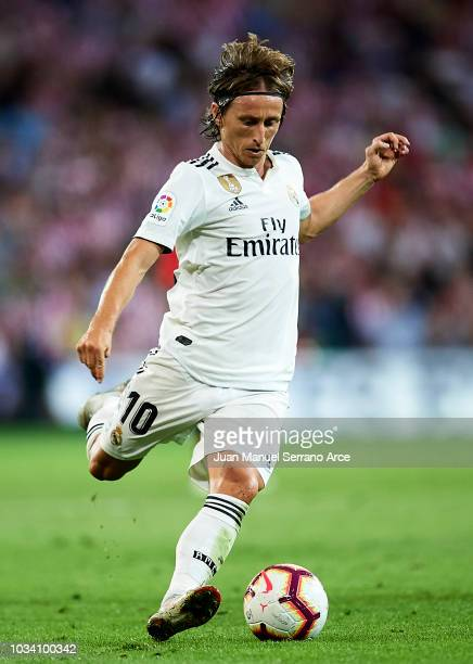 Luka Modric of Real Madrid in action during the La Liga match between Athletic Club Bilbao and Real Madrid at San Mames Stadium on September 15 2018...