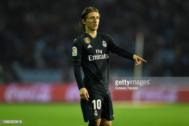 Luka Modric of Real Madrid in action during the La Liga match between RC Celta de Vigo and Real Madrid CF at AbancaBalaidos on November 11 2018 in...