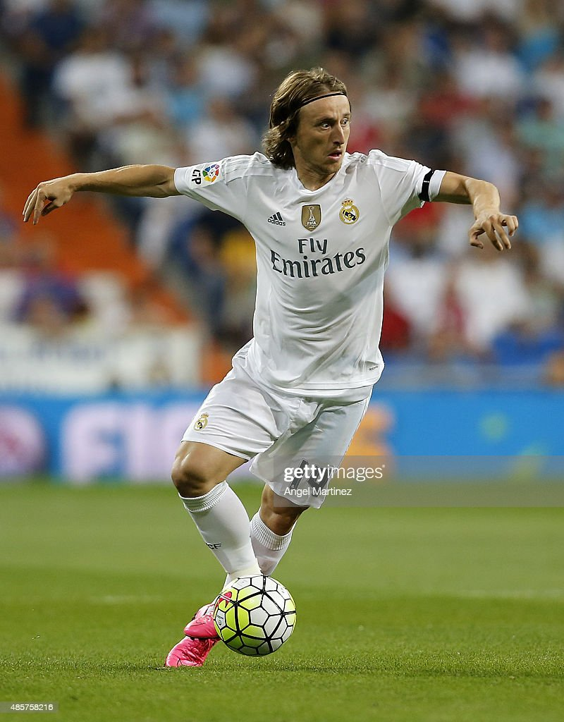 Luka Modric of Real Madrid in action during the La Liga match between Real Madrid CF and Real Betis Balompie at Estadio Santiago Bernabeu on August 29, 2015 in Madrid, Spain.