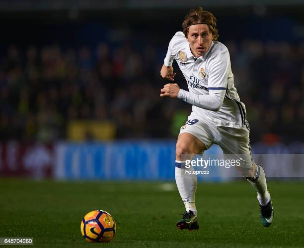 Luka Modric of Real Madrid in action during the La Liga match between Villarreal CF and Real Madrid at Estadio de la Ceramica on February 26 2017 in...