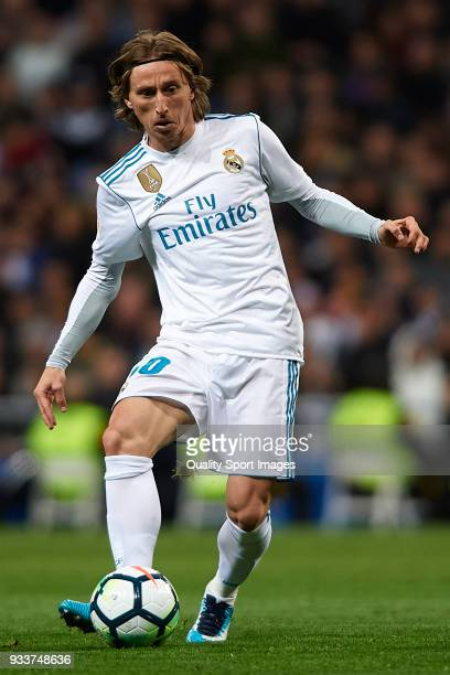 Luka Modric of Real Madrid in action during the La Liga match between Real Madrid and Girona at Estadio Santiago Bernabeu on March 18 2018 in Madrid...