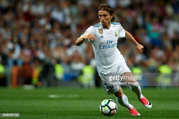 Luka Modric of Real Madrid in action during the La Liga match between Real Madrid and Athletic Club at Estadio Santiago Bernabeu on April 18 2018 in...