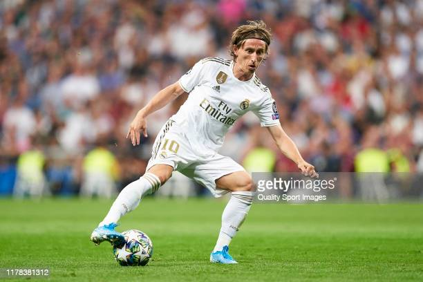 Luka Modric of Real Madrid in action during the UEFA Champions League group A match between Real Madrid and Club Brugge KV at Bernabeu on October 01,...