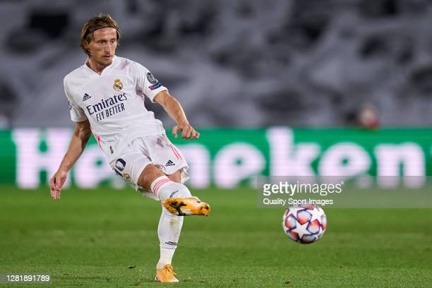 Luka Modric of Real Madrid in action during the UEFA Champions League Group B stage match between Real Madrid and Shakhtar Donetsk at Estadio Alfredo...