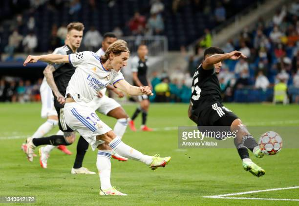 Luka Modric of Real Madrid in action during the UEFA Champions League group D match between Real Madrid and FC Sheriff at Estadio Santiago Bernabeu...