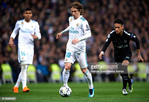 Luka Modric of Real Madrid in action during the UEFA Champions League Round of 16 First Leg match between Real Madrid and Paris SaintGermain at...