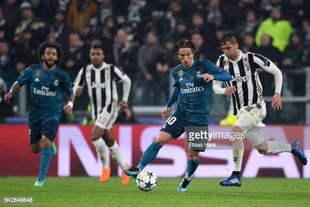 Luka Modric of Real Madrid in action during the UEFA Champions League Quarter Final first leg between Juventus and Real Madrid at Allianz Stadium on...