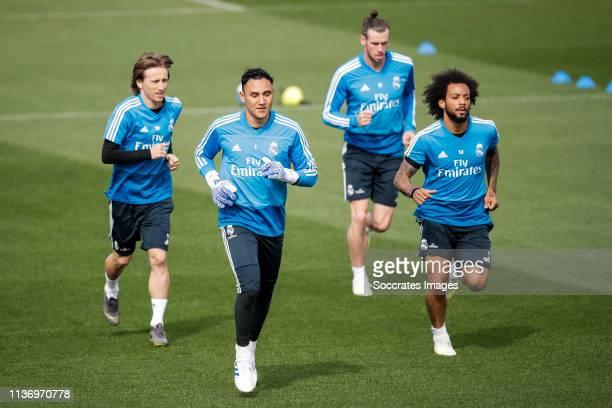 Luka Modric of Real Madrid Keylor Navas of Real Madrid Gareth Bale of Real Madrid Marcelo of Real Madrid during the Training session Real Madrid on...