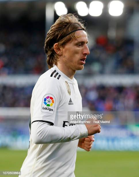 Luka Modric of Real Madrid looks on during the La Liga match between SD Huesca and Real Madrid CF at Estadio El Alcoraz on December 9 2018 in Huesca...