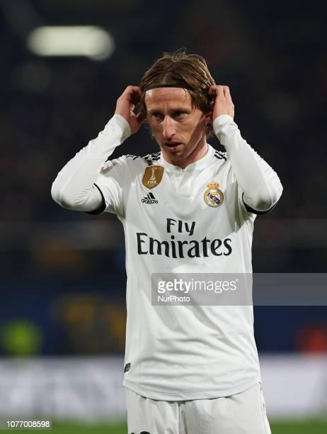 Luka Modric of Real Madrid looks on during the La Liga match between Villarreal CF and Real Madrid at La Ceramica Stadium on Jenuary 3, 2019 in...