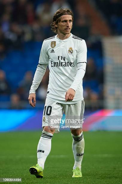 Luka Modric of Real Madrid looks on during the La Liga match between Real Madrid CF and Real Sociedad at Estadio Santiago Bernabeu on January 06 2019...