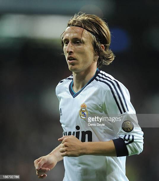 Luka Modric of Real Madrid looks on during the La Liga match between Real Madrid CF and Athletic Club de Bilbao at estadio Santiago Bernabeu on...
