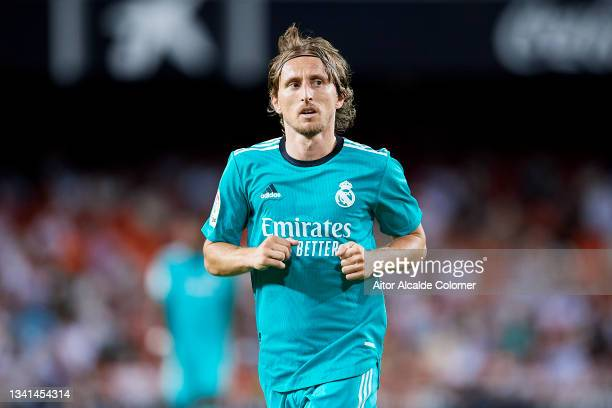 Luka Modric of Real Madrid looks on during the La Liga Santander match between Valencia CF and Real Madrid CF at Estadio Mestalla on September 19,...