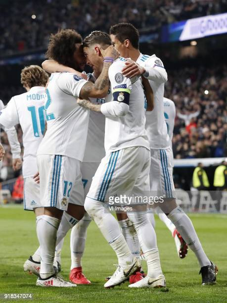 Luka Modric of Real Madrid Marcelo of Real Madrid Sergio Ramos of Real Madrid Raphael Varane of Real Madrid during the UEFA Champions League round of...