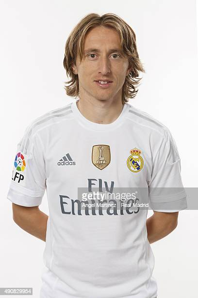 Luka Modric of Real Madrid poses during the official portrait photocall at Valdebebas training ground on September 28 2015 in Madrid Spain
