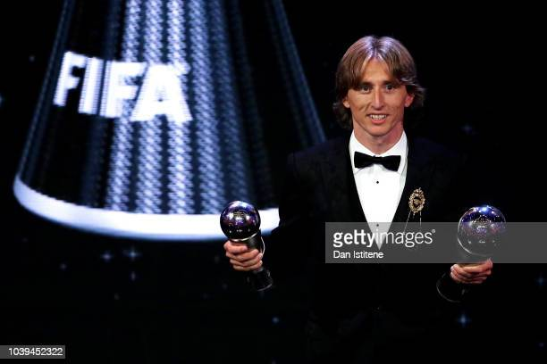 Luka Modric of Real Madrid poses for a photo during the The Best FIFA Football Awards Show at Royal Festival Hall on September 24, 2018 in London,...