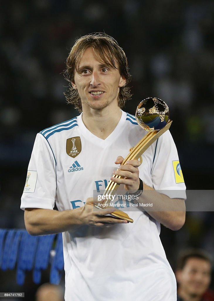 sports shoes 196f7 1889c Luka Modric of Real Madrid poses with adidas Golden Ball ...