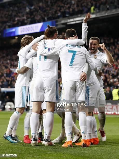 Luka Modric of Real Madrid Raphael Varane of Real Madrid Lucas Vazquez of Real Madrid Marcelo of Real Madrid Gareth Bale of Real Madrid Sergio Ramos...